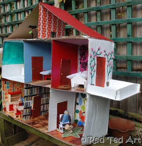 8 id es pour fabriquer une maison de poup e en carton cabane id es. Black Bedroom Furniture Sets. Home Design Ideas
