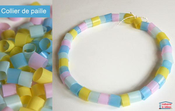 bracelet avec des perles en paille